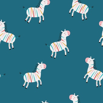 Padrão de crianças de zebra do arco-íris com ilustração plana de vetor de zebra.