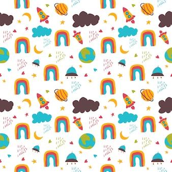 Padrão de crianças do arco-íris e do espaço