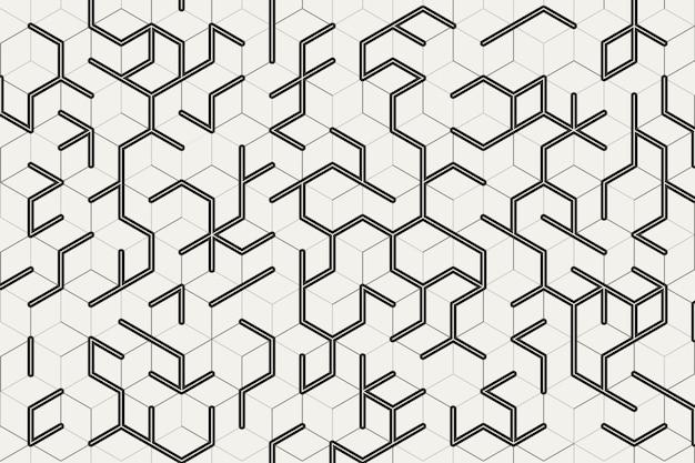 Padrão de cubo abstrato preto e cinza