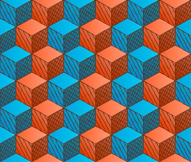 Padrão de cubos com desenho colorido