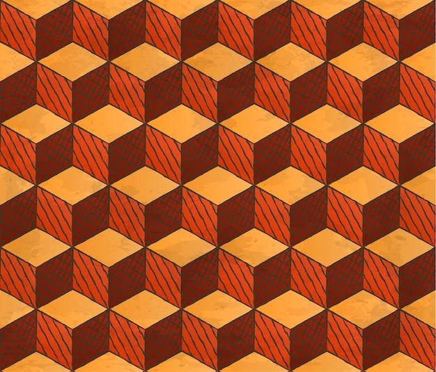 Padrão de cubos com estilo de desenho envelhecido