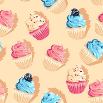 Padrão de cupcake de alto detalhe de vetor rosa e azul sem costura