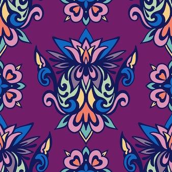 Padrão de damasco floral vetor sem costura estilo bohio vintage