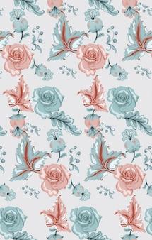 Padrão de damasco vintage com rosas
