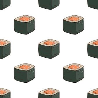 Padrão de delicioso sushi com estilo colorido