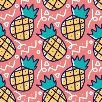 Padrão de desenho à mão de abacaxi com ícones e elementos de design