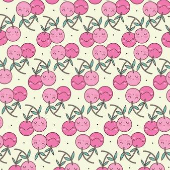 Padrão de desenho animado de cerejas fofas