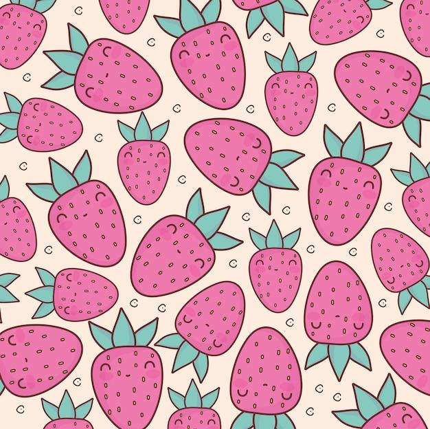 Padrão de desenho animado de frutas e morangos