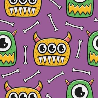 Padrão de desenho animado de monstro de halloween