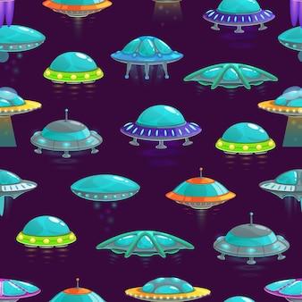 Padrão de desenho animado sem costura ufo de nave alienígena.