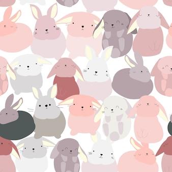 Padrão de desenho bonito coelho coelho