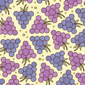 Padrão de desenho bonito de uvas felizes