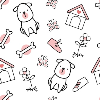 Padrão de desenhos animados de cachorro pequeno bonito