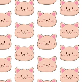 Padrão de desenhos animados de gatinho gato fofo