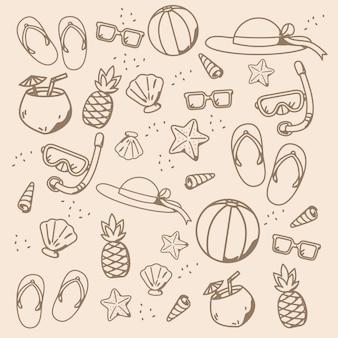 Padrão de desenhos animados de praia