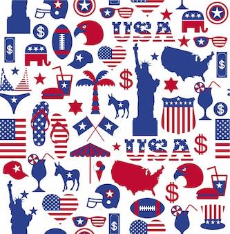 Padrão de design americano sem costura.