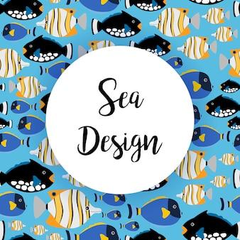 Padrão de design do mar com peixes do oceano