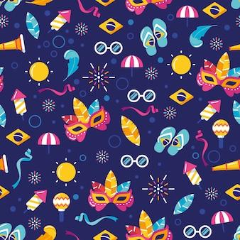 Padrão de design plano com elementos de carnaval