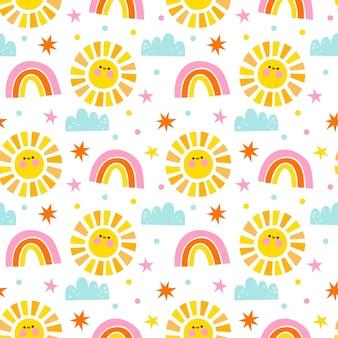 Padrão de design plano de sol, arco-íris e nuvens