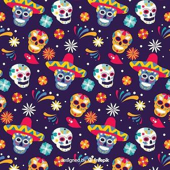 Padrão de design plano día de muertos