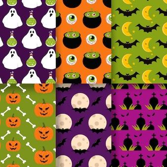 Padrão de design plano halloween