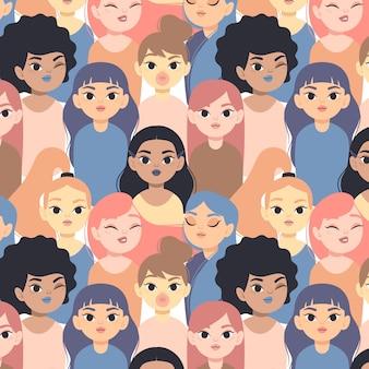 Padrão de dia colorido feminino com rostos de mulheres