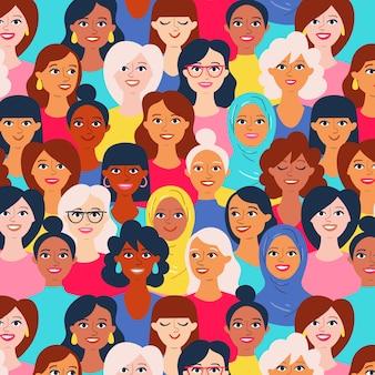 Padrão de dia das mulheres com rostos de mulheres diversas