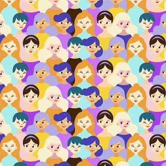 Padrão de dia das mulheres com rostos de mulheres