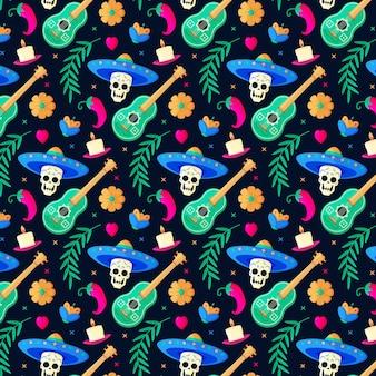 Padrão de dia de muertos de design plano