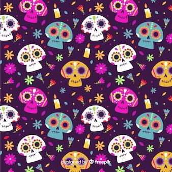 Padrão de dia de muertos em design plano