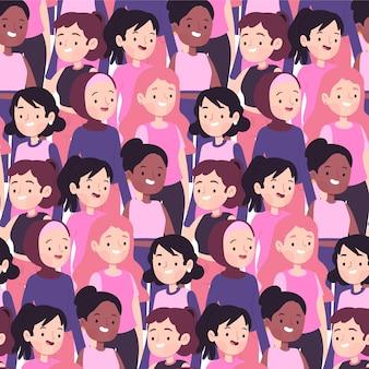 Padrão de dia diverso da mulher com rostos de mulheres