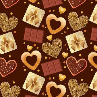 Padrão de dia dos namorados com barras de chocolate e corações.