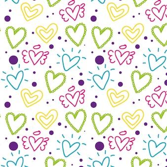 Padrão de dia dos namorados com corações coloridos.