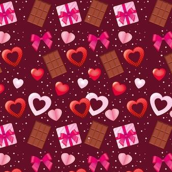 Padrão de dia dos namorados com laços de chocolate e corações.