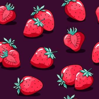 Padrão de dia dos namorados com morango fofo doodle