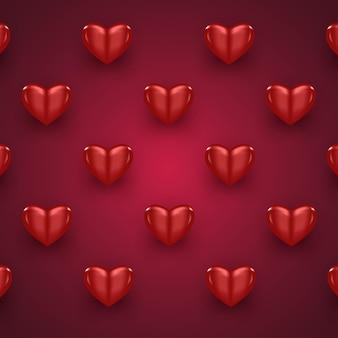 Padrão de dia dos namorados coração 3d vermelho