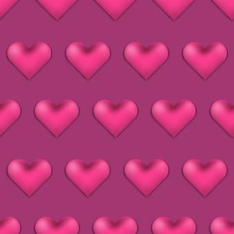 Padrão de dia dos namorados rosa profundo com corações 3d