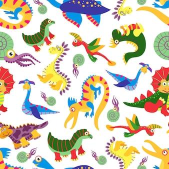 Padrão de dinossauro bebê fofo. predador jurássico dos desenhos animados de dinossauro. fundo de crianças com ilustração colorida de dinossauros
