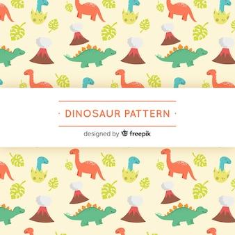 Padrão de dinossauro colorido mão desenhada