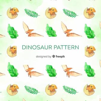 Padrão de dinossauro em aquarela