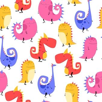 Padrão de dinossauro em cores multicoloridas estilo desenho animado desenhado à mão para tecido de bebê