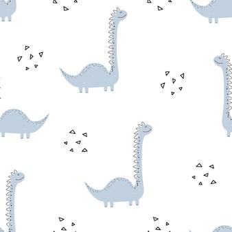 Padrão de dinossauro fofo - desenho de padrão sem emenda de dinossauro infantil desenhado à mão