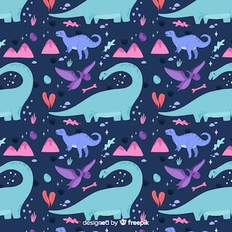 Padrão de dinossauro plano colorido