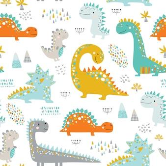 Padrão de dinossauros de lindos filhos engraçados.