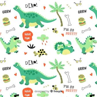 Padrão de dinossauros e palavras coloridas doodle