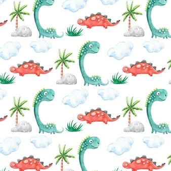 Padrão de dinossauros em aquarela