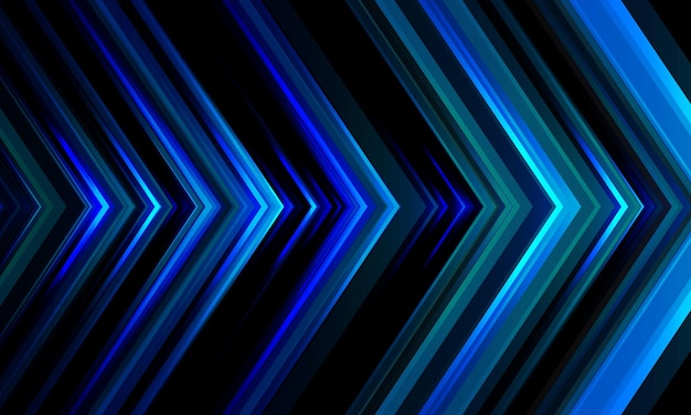Padrão de direção de seta de luz azul abstrato em fundo de tecnologia futurista de design preto