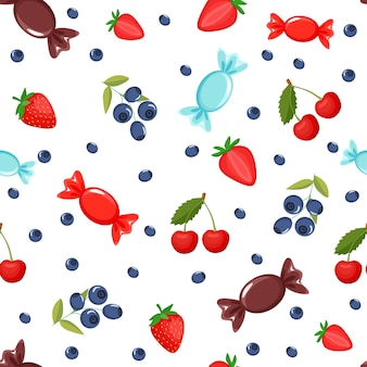 Padrão de doces. mostra mirtilos, cerejas, morangos, doces. padronizar