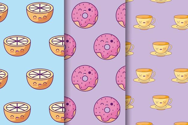Padrão de donuts com laranjas e xícaras kawaii