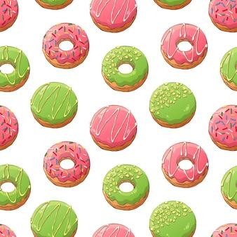 Padrão de donuts de vetor decorado com coberturas